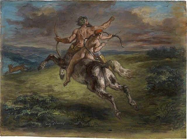La educación de Aquiles de Eugène Delacroix